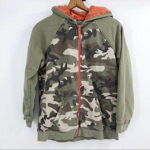 LL Bean camo fleece lined full zip hoodie jacket